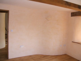 Empty room showing curved wall