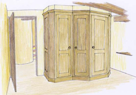 Coloured rendering of fitted wardrobe